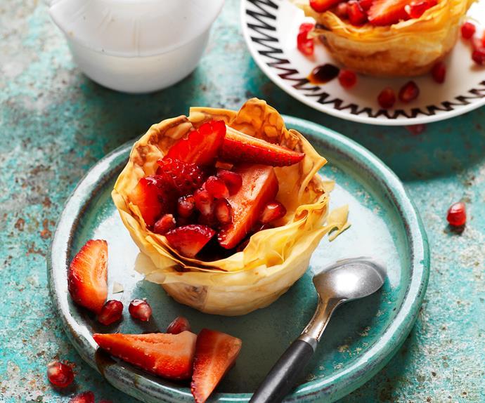 strawberry and pomegranate custard tarts