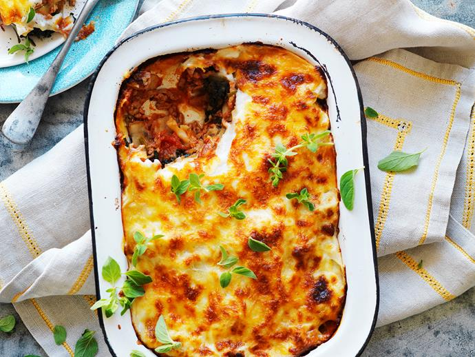 "[Pork and veal lasagne with spinach.](https://www.womensweeklyfood.com.au/recipes/pork-and-veal-lasagne-with-spinach-14495|target=""_blank"")"