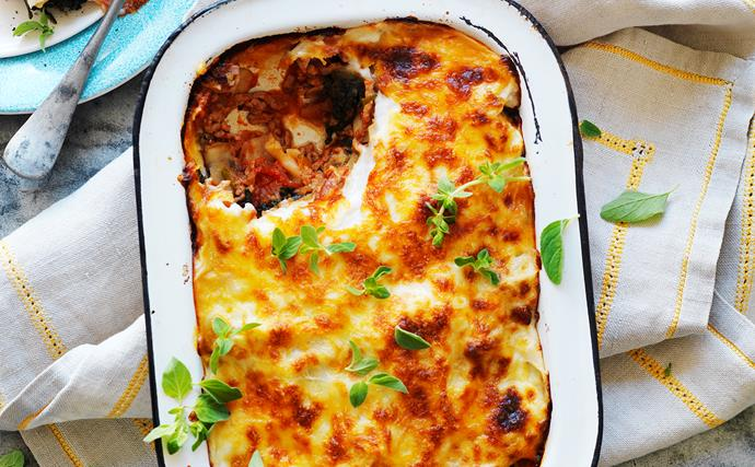 pork and veal lasagne with spinach