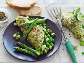 omelette with asparagus and mint