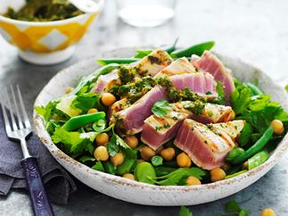 chermoula tuna, chickpea and broad bean salad