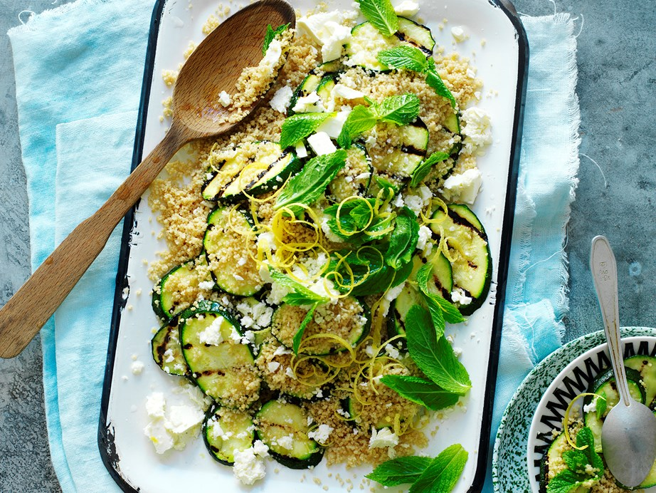 "**[Zucchini and mint couscous salad](https://www.womensweeklyfood.com.au/recipes/zucchini-and-mint-couscous-salad-11832|target=""_blank"")**"
