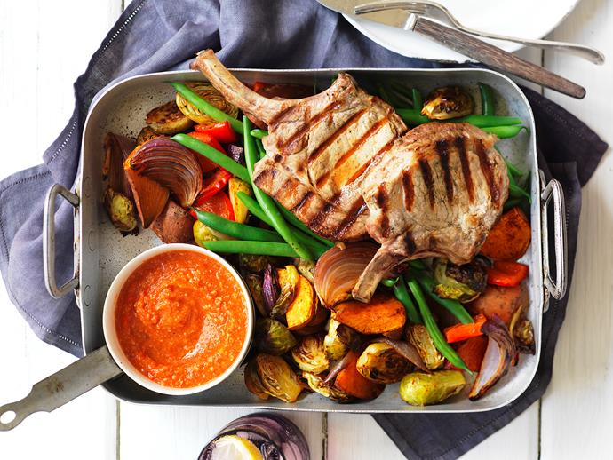 "This delicious Spanish inspired dish combines tender [grilled pork cutlets](https://www.womensweeklyfood.com.au/recipes/spanish-pork-cutlets-11972|target=""_blank"") and slow-roasted vegetables to create a delicious meal the whole family will love."