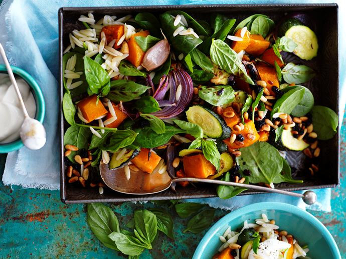 """**[Roast pumpkin and zucchini risoni salad](https://www.womensweeklyfood.com.au/recipes/roast-pumpkin-and-zucchini-risoni-salad-11464