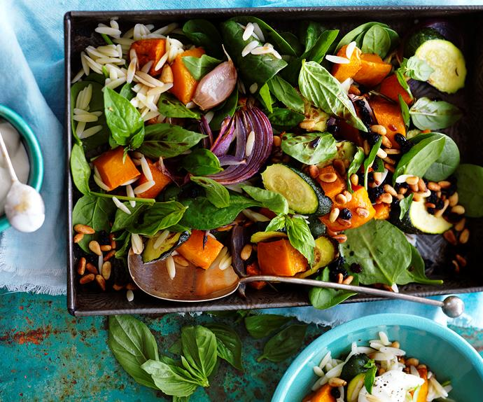 roast pumpkin and zucchini risoni salad
