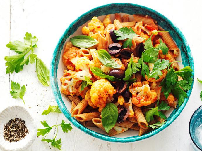 "**[Wholemeal pasta with cauliflower and olives](https://www.womensweeklyfood.com.au/recipes/wholemeal-pasta-with-cauliflower-and-olives-9989|target=""_blank"")**  This quick and tasty pasta dish is perfect for a mid-week family dinner. Wholemeal pasta is delicately tossed through a fragrant tomato, cauliflower and olive sauce to create this deliciously healthy dinner."