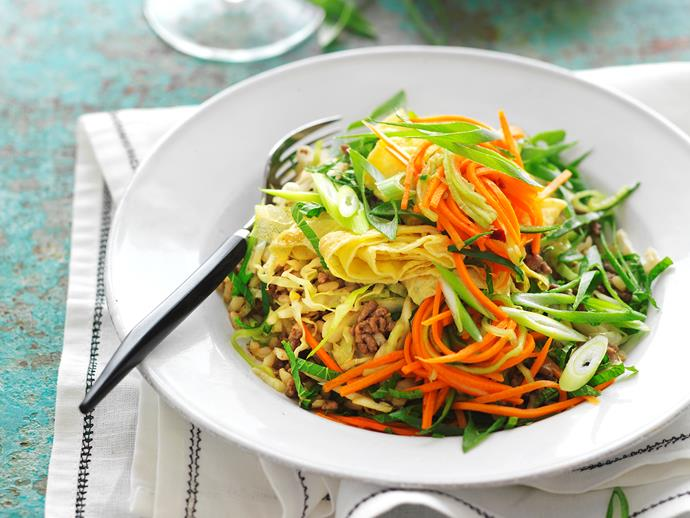 """**[Stir-fried beef and brown rice with carrot and cucumber pickle](https://www.womensweeklyfood.com.au/recipes/stir-fried-beef-and-brown-rice-with-carrot-and-cucumber-pickle-8478