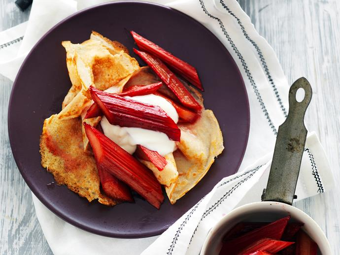 "[Spelt crepes with rhubarb in rose syrup recipe.](http://www.foodtolove.com.au/recipes/spelt-crepes-with-rhubarb-in-rose-syrup-26141|target=""_blank"")"