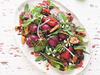 Chargrilled strawberry and rocket salad with pita