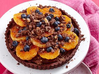 Chocolate mandarin crumble tart