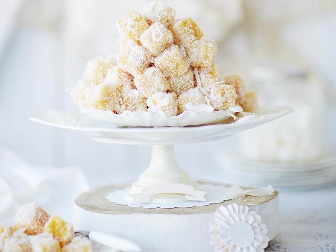 "**[Mini lemon almond lamingtons](https://www.womensweeklyfood.com.au/recipes/mini-lemon-almond-fingers-28930|target=""_blank"")**  These gorgeous mini lemon almond fingers are a zesty take on the classic Australian lamington. The combination of soft sponge rolled in coconut and drizzled with a sweet lemon syrup will leave you reaching for more."