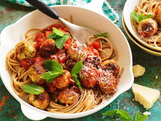 Chicken, minted pea and ricotta meatballs pasta