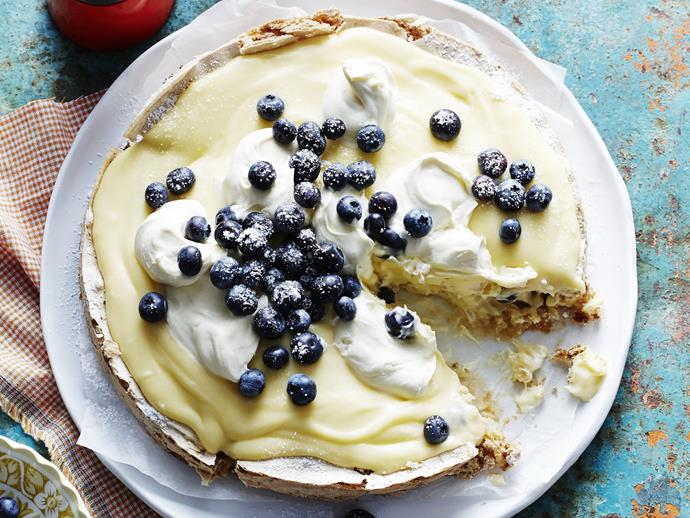 """**[Almond meringue and lemon curd cake](https://www.womensweeklyfood.com.au/recipes/almond-meringue-and-lemon-curd-cake-12364