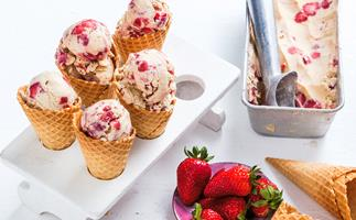 Dairy free almond and sticky strawberry ice-cream