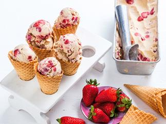 Dairy free almond and sticky strawberry ice-cream