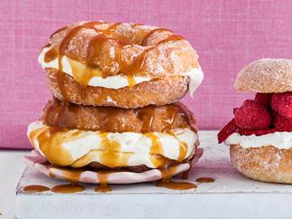 Deep-fried caramel cream doughnuts