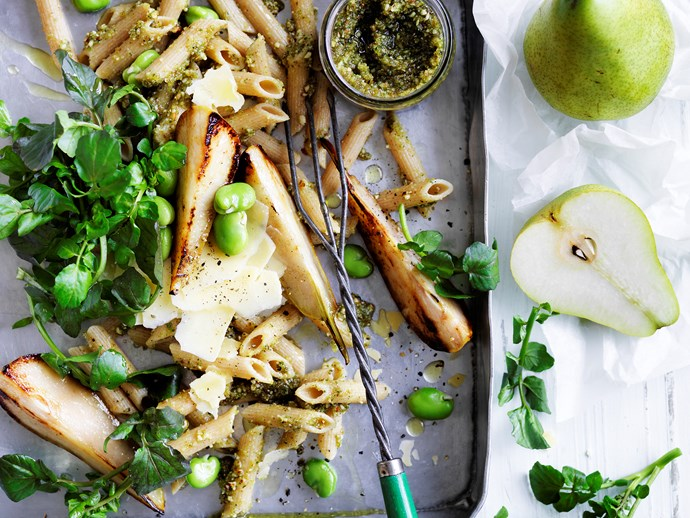 Pasta with almond and walnut paste,  pears and broad beans