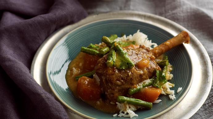 Red curry lamb shanks