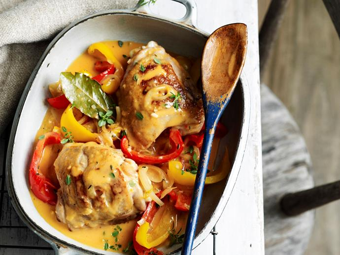 "Tender, succulent [pressure-cooker chicken with sweet capsicum](https://www.womensweeklyfood.com.au/recipes/pressure-cooker-chicken-with-capsicum-28957|target=""_blank"") - the perfect dinner idea for when you are pressed for time! Quick and easy, yet packed with wholesome ingredients and tonnes of flavour."
