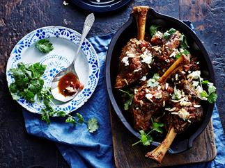 Spiced lamb shanks with almonds and feta