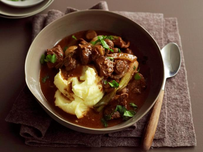 "**[Slow-cooker beef, mushroom and red wine stew](https://www.womensweeklyfood.com.au/recipes/slow-cooker-beef-mushroom-and-red-wine-stew-28968|target=""_blank"")**  Warm, hearty and packed with mushrooms and bacon, this beef stew is slow-cooked in a fragrant red wine sauce to tender perfection."