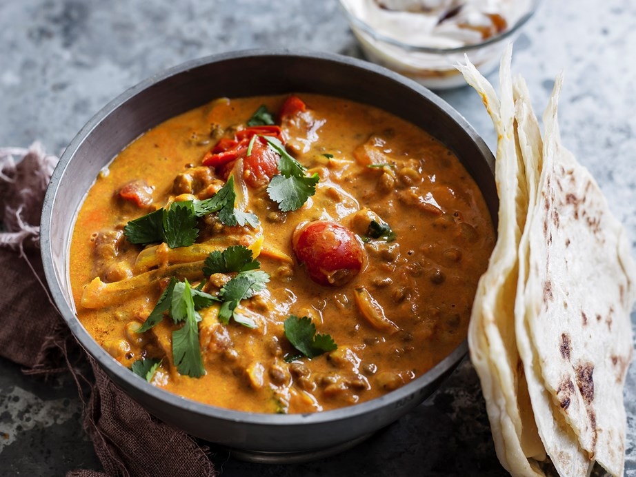 """Arguably the most popular lentil dish ever, this delicious [dhal curry with chutney yoghurt](https://www.womensweeklyfood.com.au/recipes/dhal-curry-with-chutney-yoghurt-28973