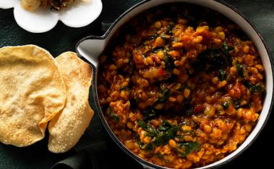 Slow-cooker silverbeet dhal