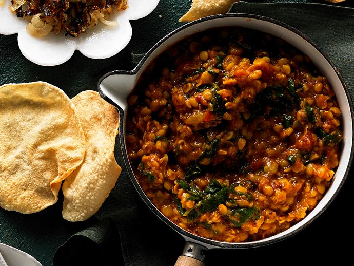 "**[Slow-cooker silverbeet dhal](https://www.womensweeklyfood.com.au/recipes/slow-cooker-silver-beet-dhal-28975|target=""_blank"")**  This hearty, warming silverbeet and pea curry is packed full of flavour, but requires minimal effort to make. Simply pop all your ingredients into the slow cooker, and you'll come back to a fragrant, nourishing vegetarian dinner the whole family will love."