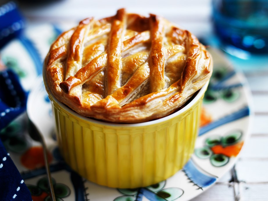 """**[Eggplant and mushroom pasta pot pies](https://www.womensweeklyfood.com.au/recipes/eggplant-and-mushroom-pasta-pot-pies-28976
