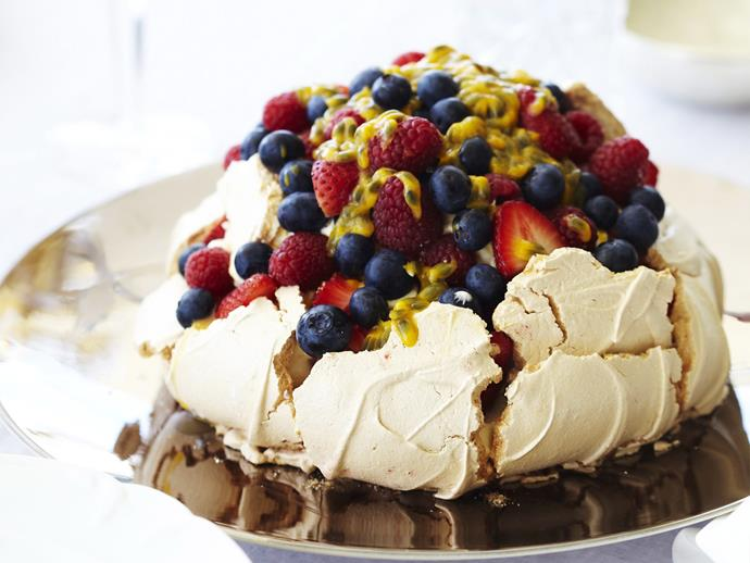 "**[Marshmallow pavlova](https://www.womensweeklyfood.com.au/recipes/marshmallow-pavlova-12716|target=""_blank"")**  With a cloud-like, marshmallowy centre, this pavlova is the stuff dreams are made of. Serve with lashings of whipped cream, and fresh berries."