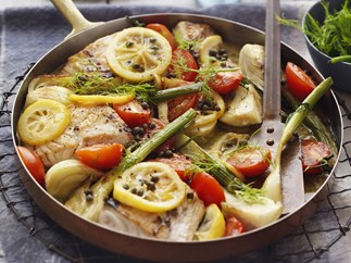 Fish with fennel, lemon and capers