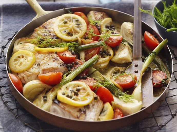 """Try this **[fish with lemon and capers](https://www.womensweeklyfood.com.au/recipes/fish-with-fennel-lemon-and-capers-28978