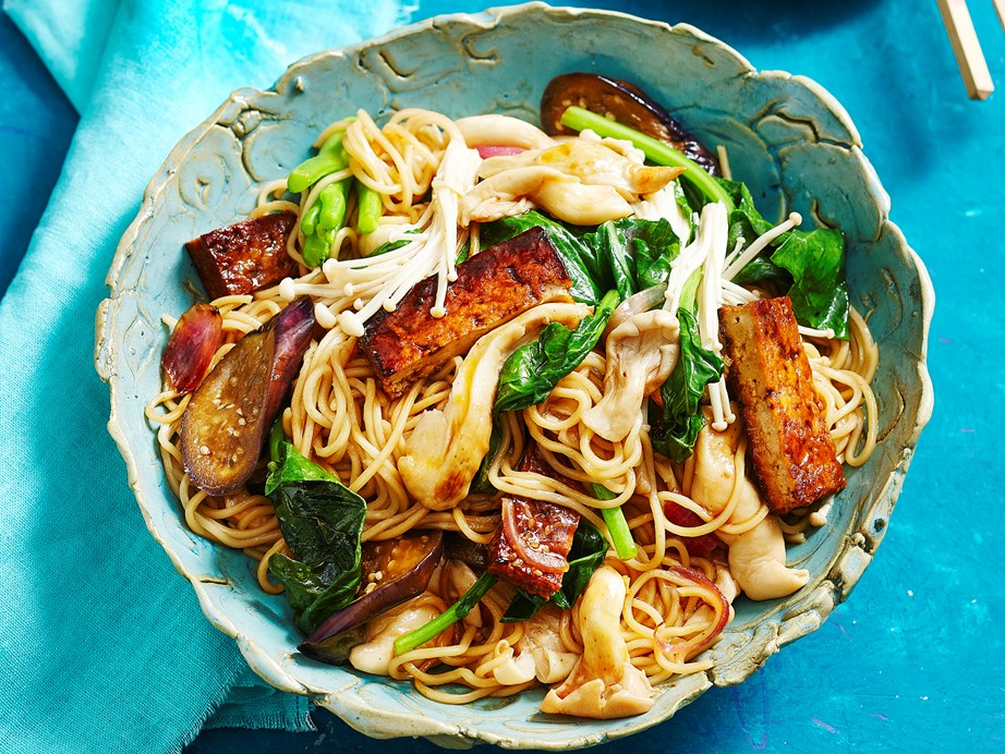 """**[Stir-fried eggplant, tofu and mushrooms](https://www.womensweeklyfood.com.au/recipes/stir-fried-eggplant-tofu-and-mushrooms-28981
