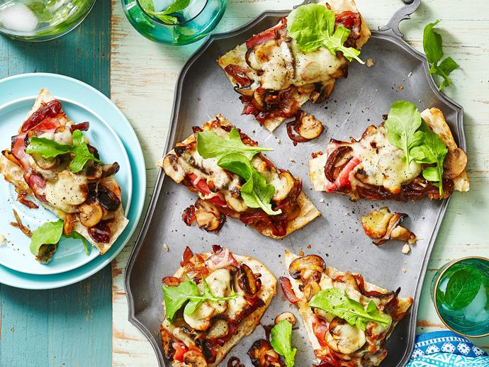 "Ditch the takeout menus and whip up your own deliciously cheesy and flavoursome [mixed mushroom and mozzarella pizzas](https://www.womensweeklyfood.com.au/recipes/mixed-mushroom-and-mozzarella-pizza-28983|target=""_blank"")! Perfect for any night of the week!"