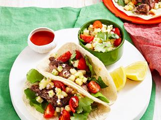Grilled steak tacos with pineapple salsa