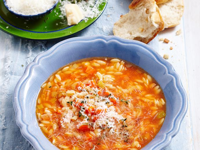 """Excite your tastebuds with this delicious authentic [Italian risoni soup](https://www.womensweeklyfood.com.au/recipes/italian-risoni-soup-28992