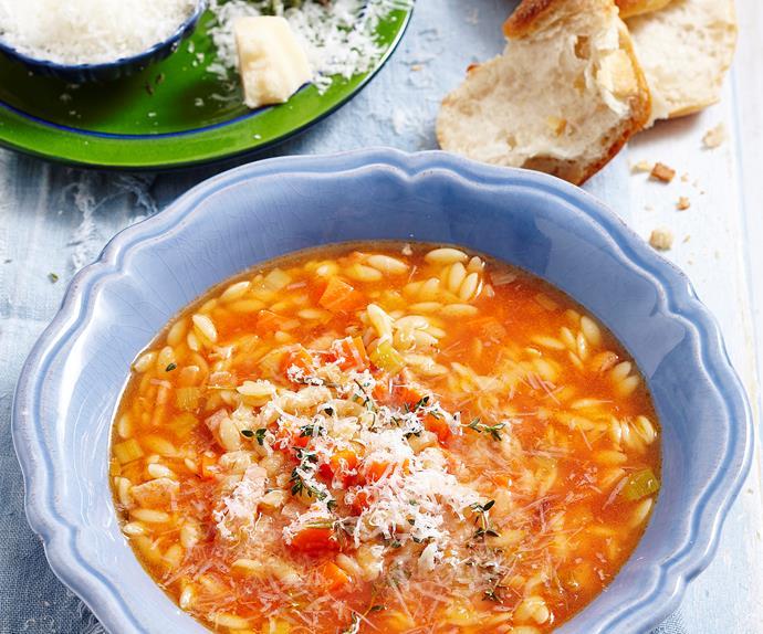 Italian risoni soup