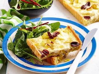 Caramelised leek and olive tart