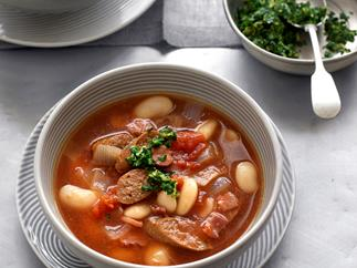 White bean and merguez soup with gremolata