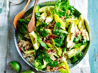 Poached chicken salad with avocado and green papaya