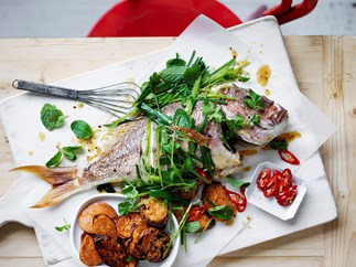 Whole snapper with pea and herb dressing