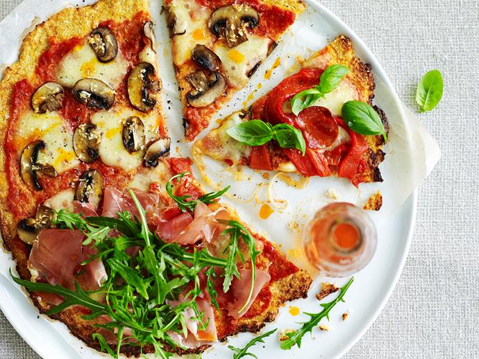 "Who said health-nuts can't enjoy pizza? This **[paleo cauliflower pizza](https://www.womensweeklyfood.com.au/recipes/cauliflower-pizza-29021|target=""_blank"")** contains no refined flour, with a crust based on chickpeas and cauliflower."