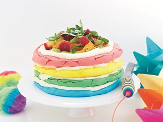Rainbow pavlova cake
