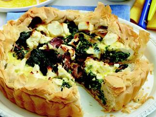 Chorizo, spinach and fetta quiche
