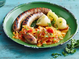 Spiced tomato and onion with grilled sausages