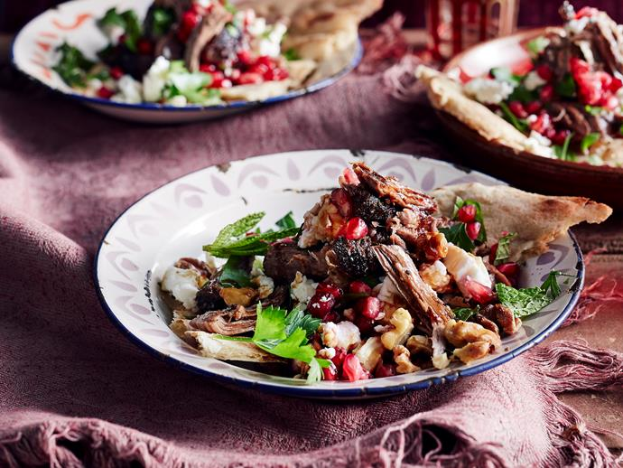 """**[Moroccan lamb salad with pomegranate and walnuts](https://www.womensweeklyfood.com.au/recipes/moroccan-lamb-salad-with-pomegranate-29035