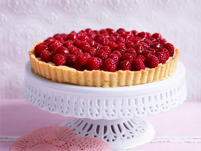 """Sweet and divine, this decadent [French raspberry tart](https://www.womensweeklyfood.com.au/recipes/french-raspberry-tart-29041