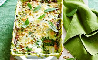 Roast pumpkin and spinach lasagne