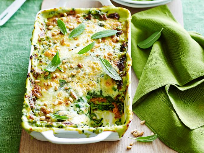 "**[Roast pumpkin and spinach lasagne](https://www.womensweeklyfood.com.au/recipes/roast-pumpkin-and-spinach-lasagne-29044|target=""_blank"")**"