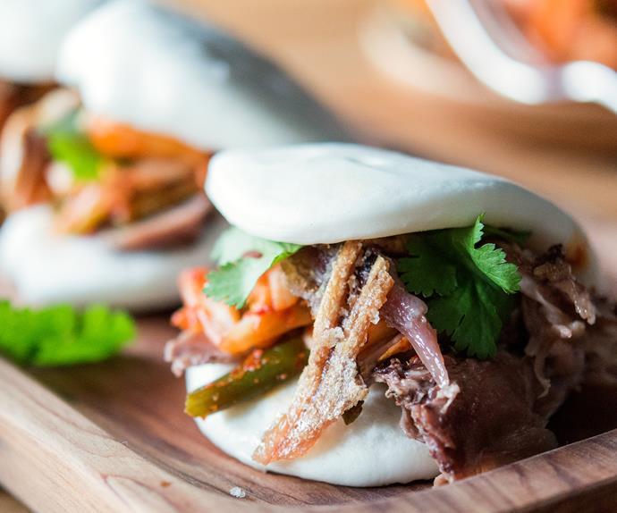 Roasted pork knuckle steamed bun